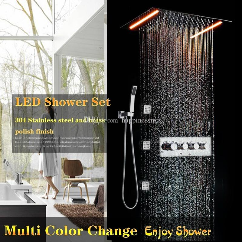 3 Way High Fluxo LED Retangular Cabeça de Chuveiro Set 360x500mm Grande Escondido TOP Chuva Hot And Cold Sistema de Válvula Desviadora Com 3 Jatos Do Corpo