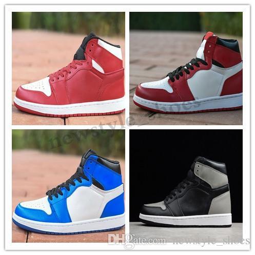 NIKE Air Jordan 1 Retro С О.Г. 1S классическая 1 Баскетбол обуви топом 3 золотыми тени Чикаго разводил маточная разрушенная спинодержатель разводит черный палец ноги кроссовок tk2