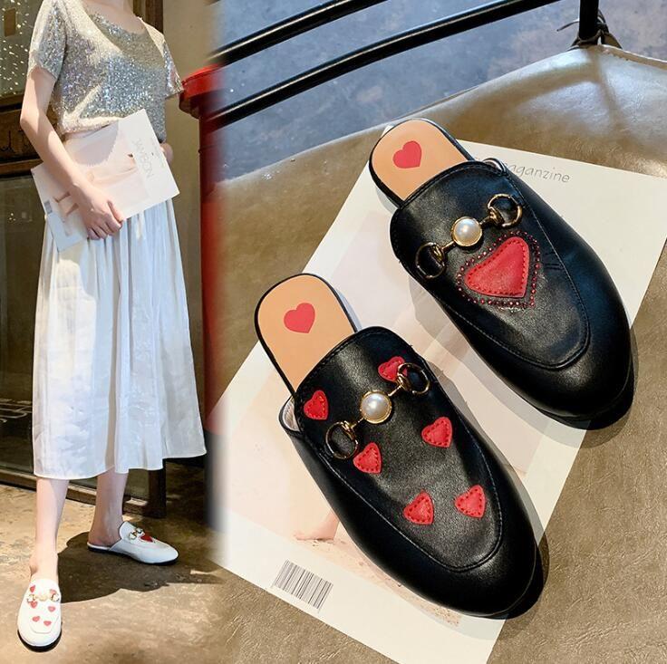De nouvelles pantoufles été épidermures concepteur femmes imprimé coeur de la mode casual chaussures pour femmes de haute qualité mocassins