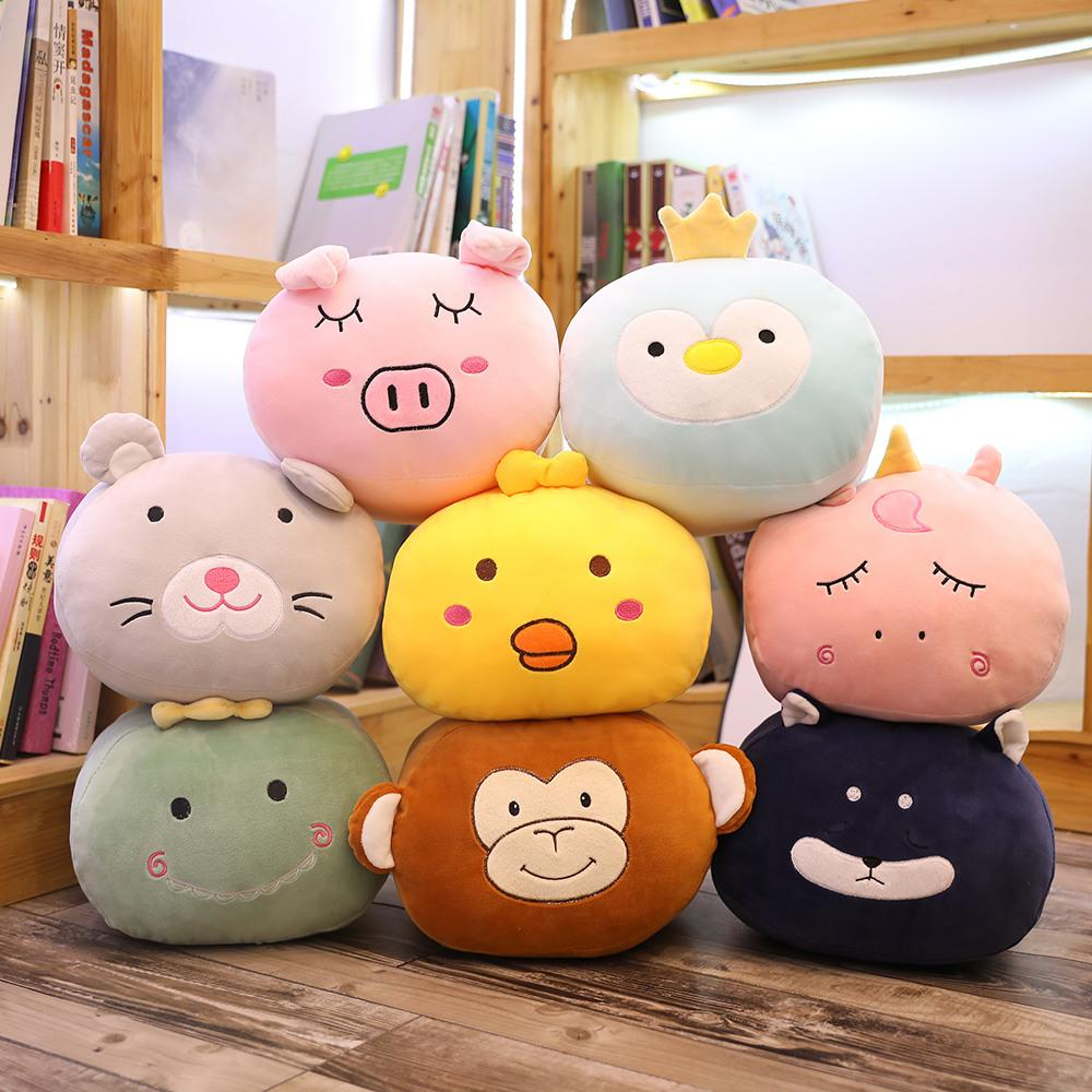 Ball Animal Head Pillow Squishy Hands Warmer Stuffed Doll Fruits Animals Hands Pillows Penguin Pig Dino Chick Monkey Carrot 30cm
