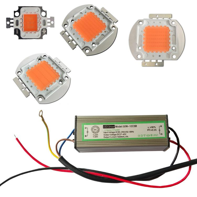 High Power LED Chip Full Spectrum Grow Light Lamp 10w 20W 30W 50W 100W 380nm - 840nm COB Beads for Indoor Plant Growth