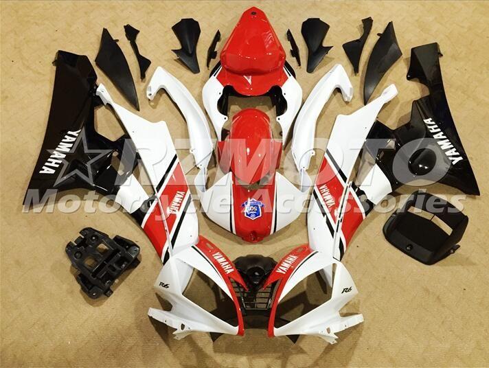 OEM Kalite ABS Tam Fairing Kitleri YAMAHA YZF-R6 için fit 06-07 YZF600 2006 2007 R6 Kaporta set Özel Beyaz Kırmızı