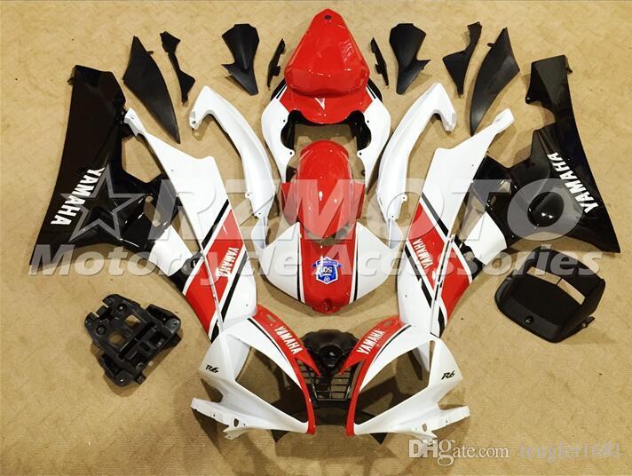 OEM качество ABS полный обтекатель подходит для YAMAHA YZF-R6 06-07 YZF600 2006 2007 R6 Кузов комплект Custom белый красный