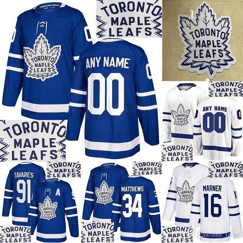 Camisa Hot perfuração Toronto Maple Leafs 34 Mateus 91 Tavares 16 Marner 29 William Nylander Personalizar qualquer número qualquer jerseys nome de hóquei
