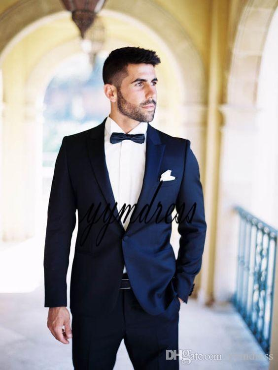 2019 Two Buttons Dark Blue Groom Tuxedos With Peaked Lapel One Button Best Man Suits Groomsmen Men Wedding Suits (Jacket+Pants +Bow)