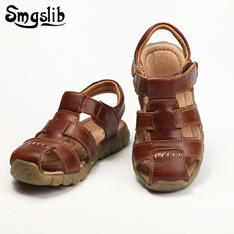 Children Shoes Genuine Leather Boys Sandals Single Toddler Boy Gladiator Shoes Casual Comfortable Summer Beach Sandals Kids Y19051602