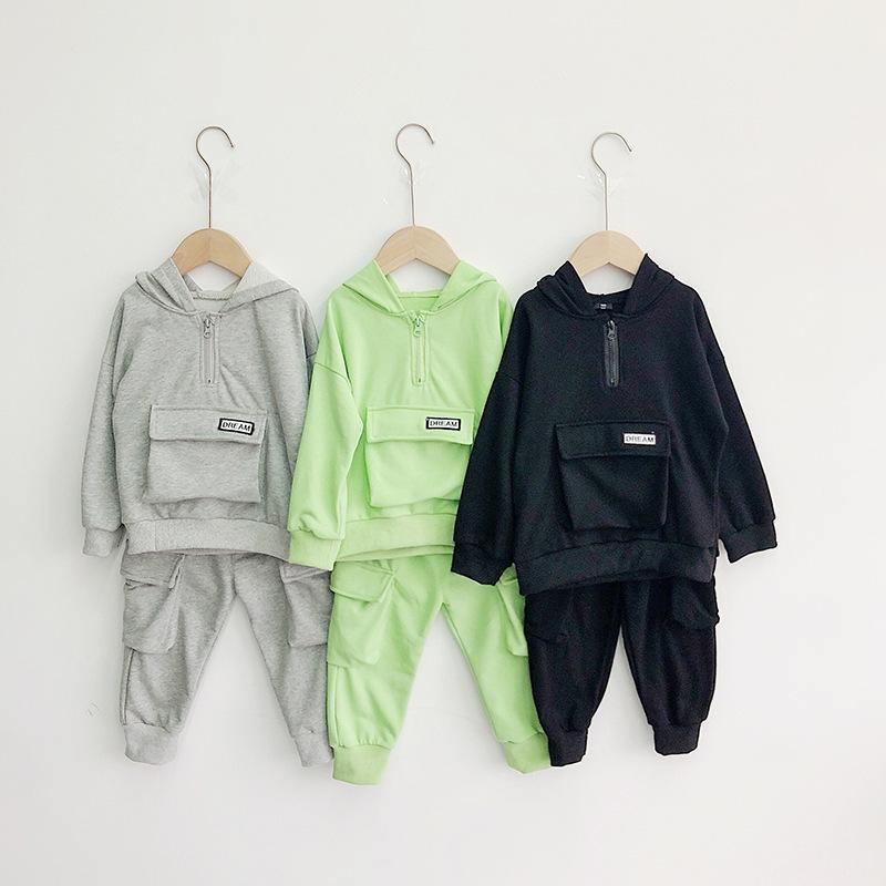 Tout-petits garçons Vêtements Sets Pantalons hoodie Casual Printemps grande poche Vêtements enfants 2 3 4 5 6 Y bébé Costumes enfant garçon sport T200414