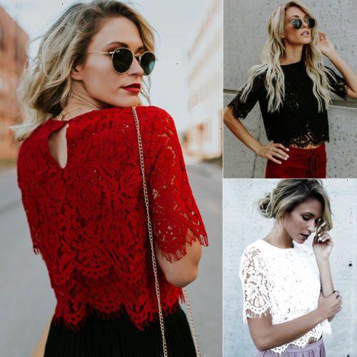 Blusas para las señoras de las tapas de las mujeres de moda suelta de manga corta Tops de encaje floral de manga corta camisa de la blusa del cordón de las tapas ocasionales de la camisa