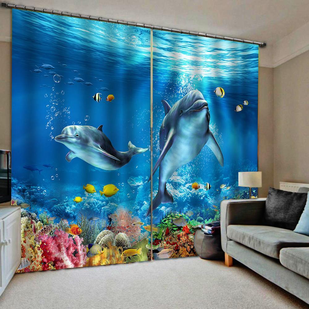 3D Blackout tende del soggiorno camera d'albergo Finestra tende blu delfino tenda Blackout