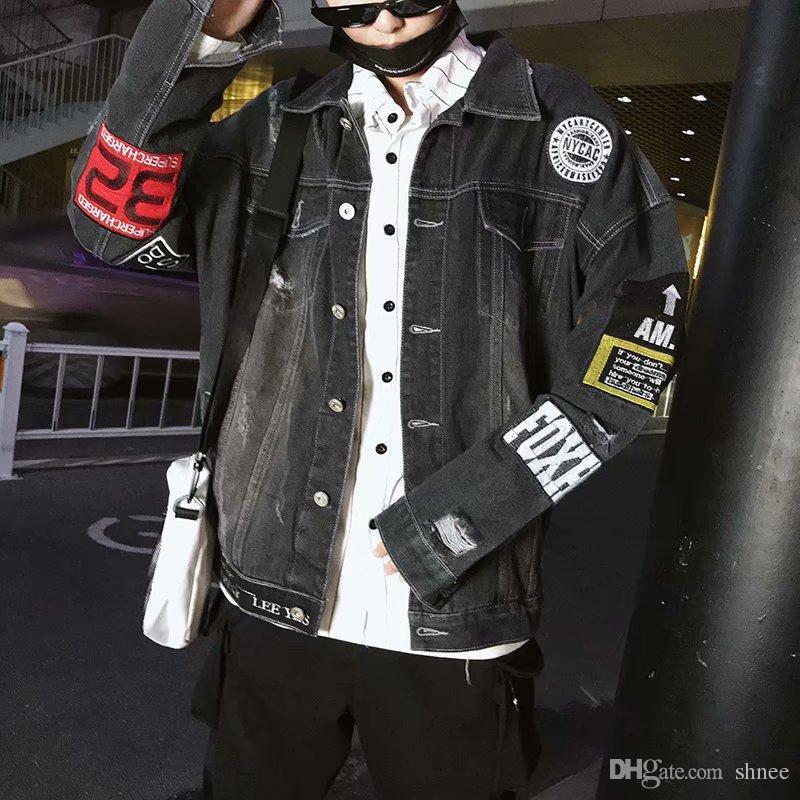 Hip Hop Moda Baskılı Kot Ceket Erkekler Siyah Rahat Streetwear Erkekler Için Sonbahar Yeni Denim Ceket Kaban