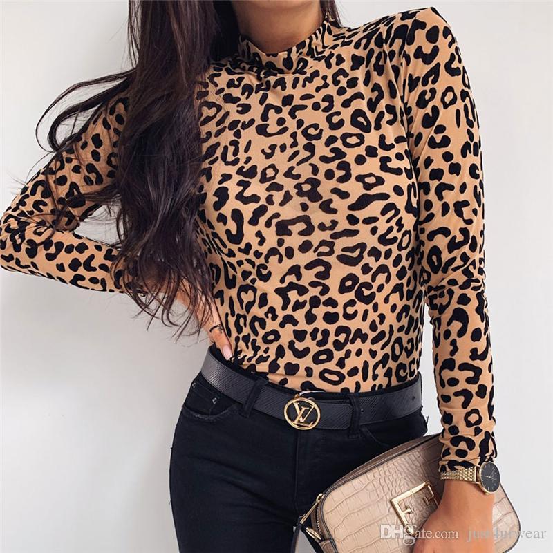 Женщины Нового Нового Leopard водолазка Тонких футболки Sexy Топы Мода длинный рукав футболка Топы повседневных Tee Одежда