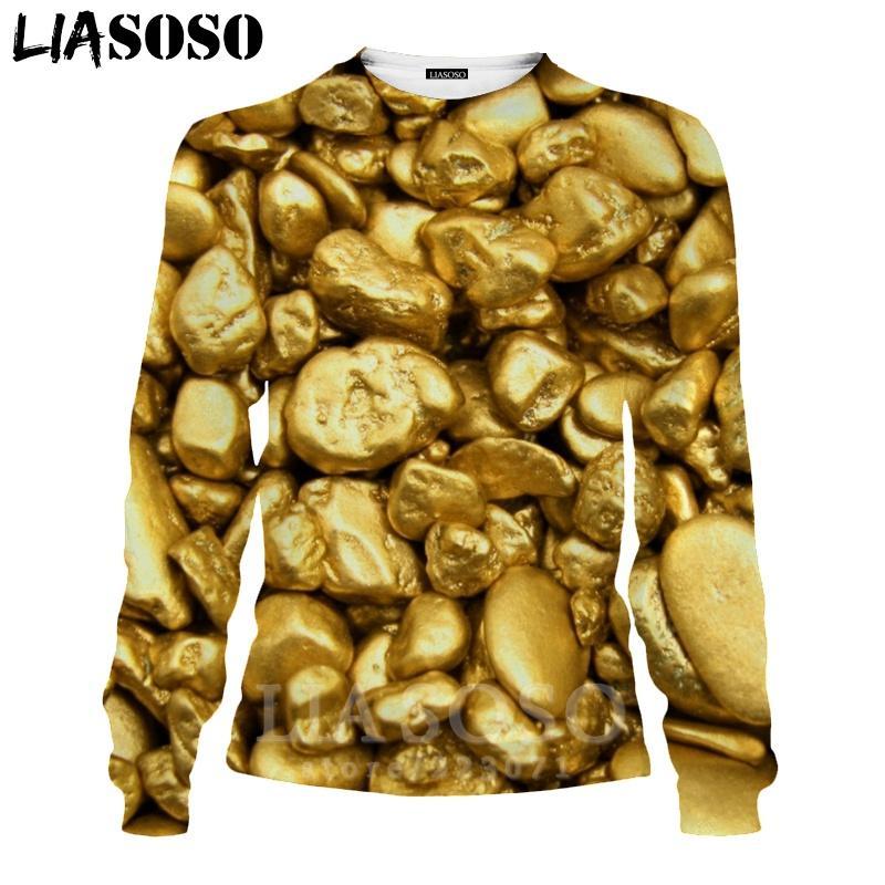 LIASOSO 3D Print Gold Sweatshirt Autumn Long Sleeve Glow Diamond Men's Shirt Anime Women Fashion Tops O Neck Men Clothing D017-7