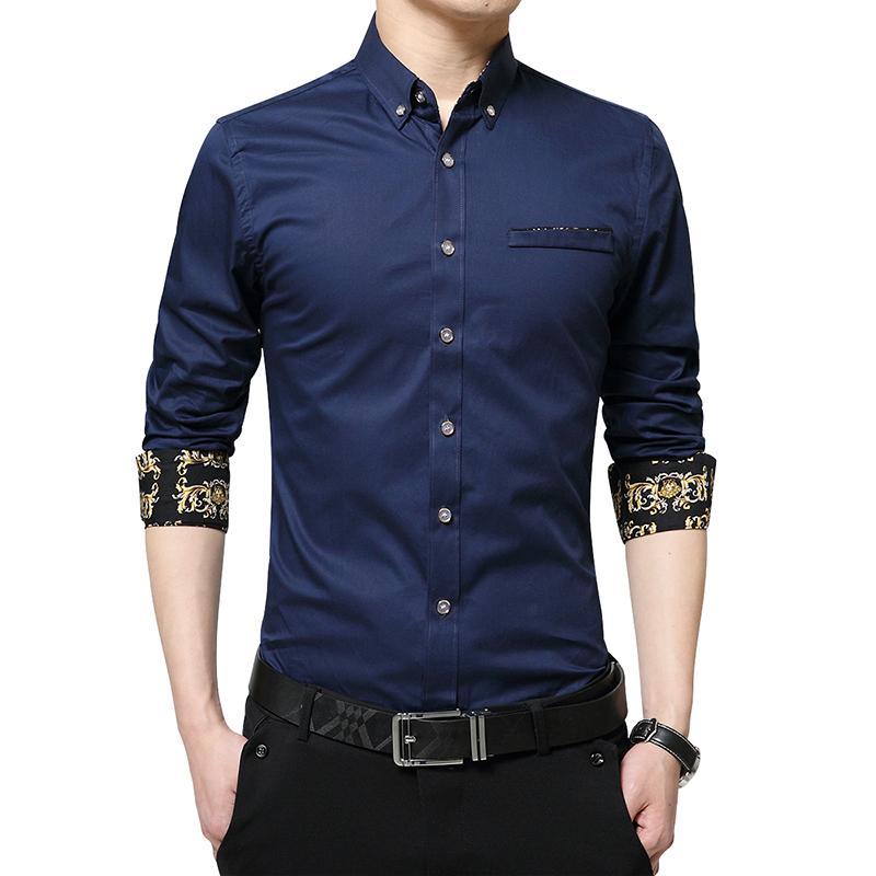 Casual nueva camisa de manga larga para hombre adelgazan las camisas de ajuste vestido de negocios de hombres Ropa Social clásico Fashoion coreanos Tuxedo sólido camisas