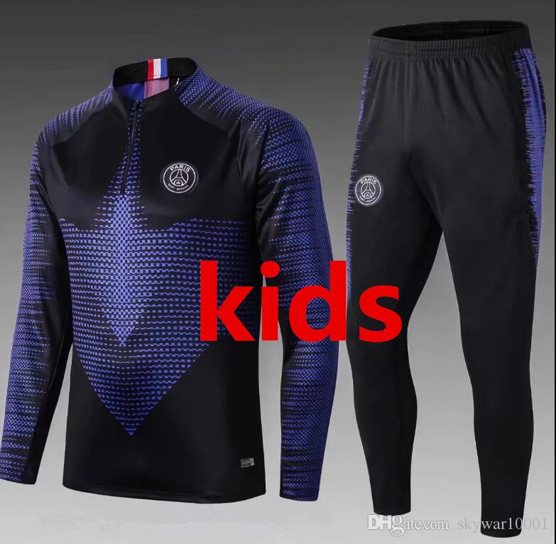 neue 2019 2020 survêtement Maillo psg Kinder Anzug für die Ausbildung Mbappe Maillots de football kit VERRATT Fußballtrainingsanzug-Set
