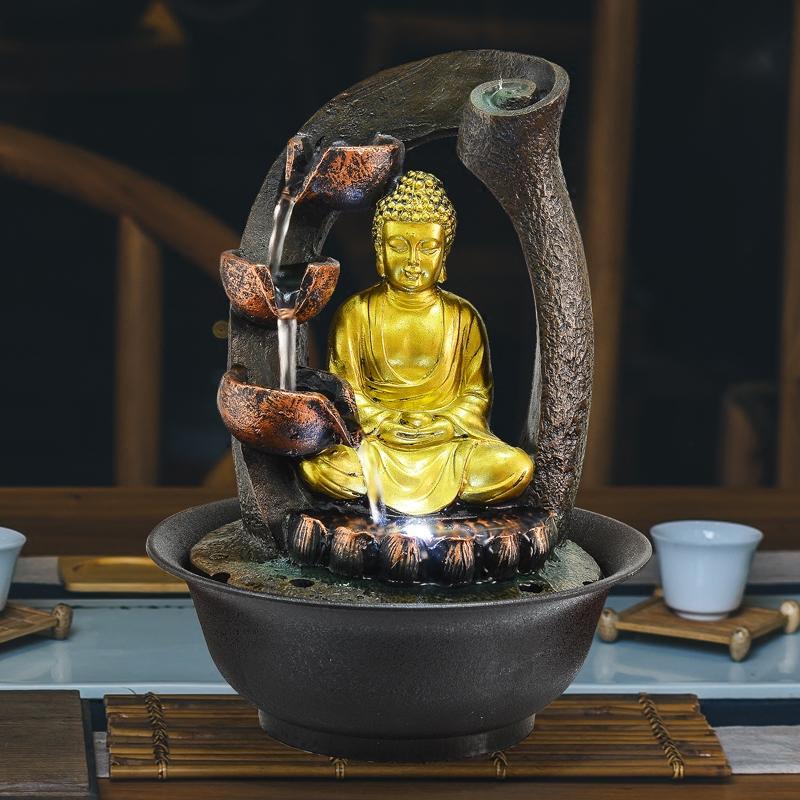 هدايا تمثال بوذا ديكور نافورات في الأماكن المغلقة نافورات المياه الراتنج الحرف فنغ شوي سطح المكتب الرئيسية نافورة 110V 220V E