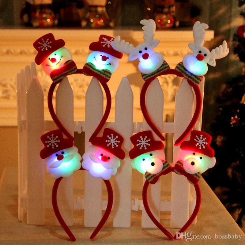 Kids Christmas Hair Sticks Cartoon Santa Claus With Light Head Hoop Baby Girls Cute Headwear Girls Christmas Hair Stick Christmas Gifts 07