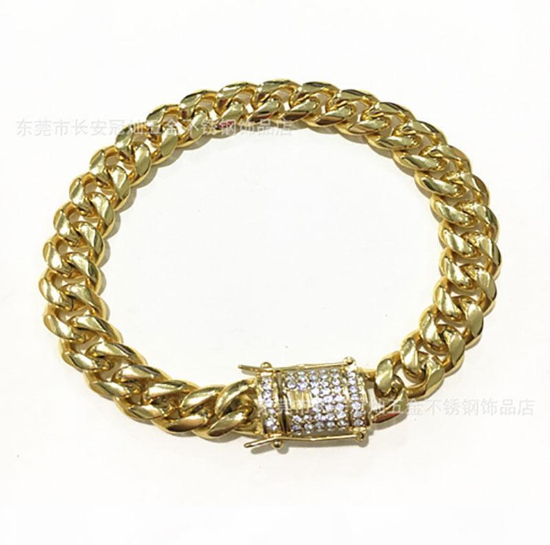 Mens Pulseiras 18K ouro Hip hop cubano Ouro Bangle 10 milímetros 8 polegadas Dimond Botão Cadeia