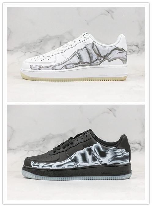 Nueva Halloween zapatos de baloncesto de hueso de diseño para hombre de las mujeres zapatos negros blancos de las zapatillas de deporte de atletismo entrenadores deportivos 36-45