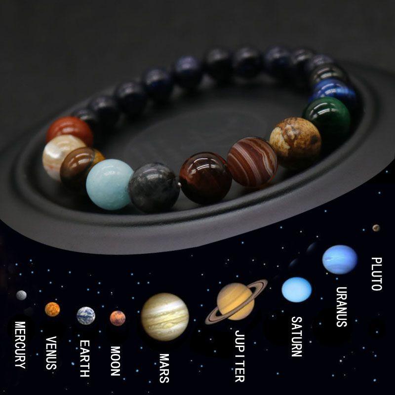2019 Oito planetas Pulseira Pulseira Homens Natural Stone Stone Universo Yoga Chakra Sistema Solar Pulseira para Homens Jóias Drop Shipping My3