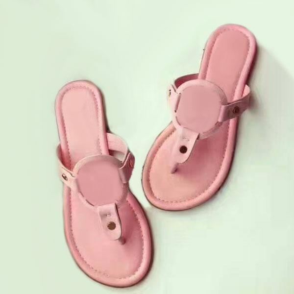 2019 marca de moda Matte couro genuíno Sandals Outdoor aleta da praia Chinelos salto Flop plana Casual Loafers Lady Women Shoes Sz 35-41