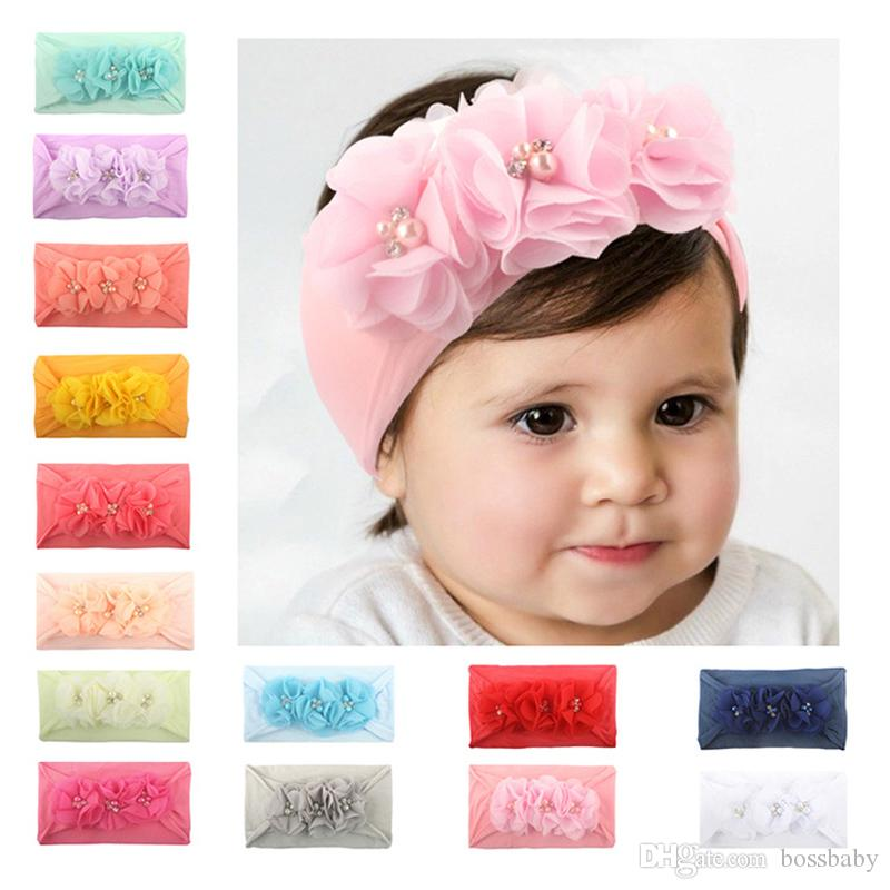Infants Girls Floral Hairdband Baby Girls Pearl Bead Flower Hairbands Kids Solid Color Headwear Cotton Hair Bands 06