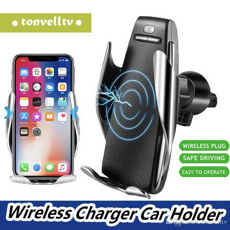 Sem fio Carregador de fixação Car Charger Automatic Hot S5 Mount Holder Smart Sensor 10W carregamento rápido Carregador para iPhone Samsung Universal