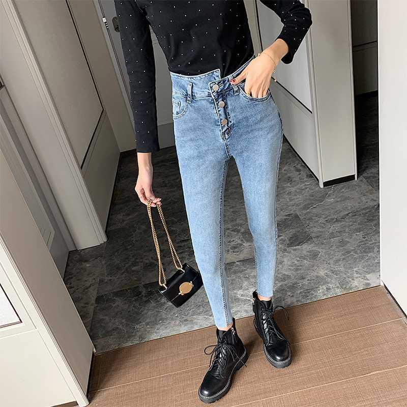 Корейская мода джинсы женщины высокая талия три кнопки тонкий стрейч тощий лодыжки длина повседневная карандаш джинсы Женские летние