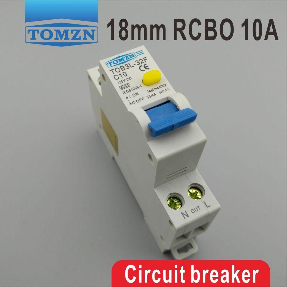 Fournitures d'équipement LECTRIQUE Disjoncteurs TOB3L-32F 18MM RCBO 10A 1P + N 6KA résiduel disjoncteur courant avec plus de courant ...