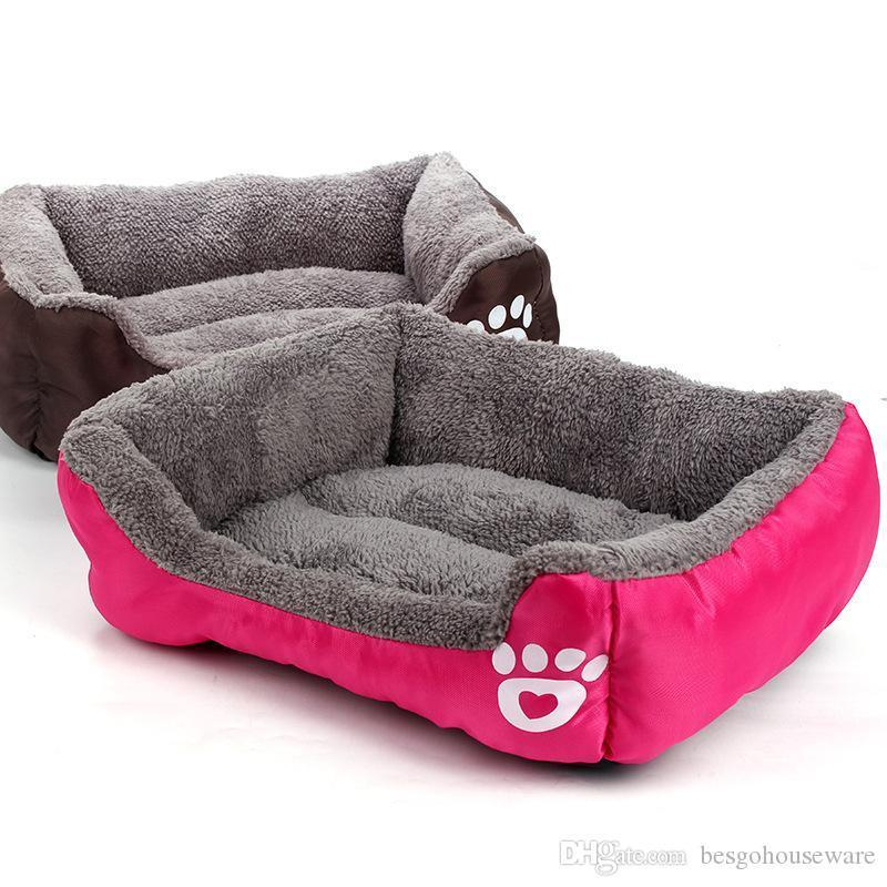 Wholesale 6 Colors Soft Warm Pet Puppy Bed Thicken Soft Breathable Dog Bed Puppy Dog Cat Kitten Fleece Autumn Winter Warm Bed BH0314