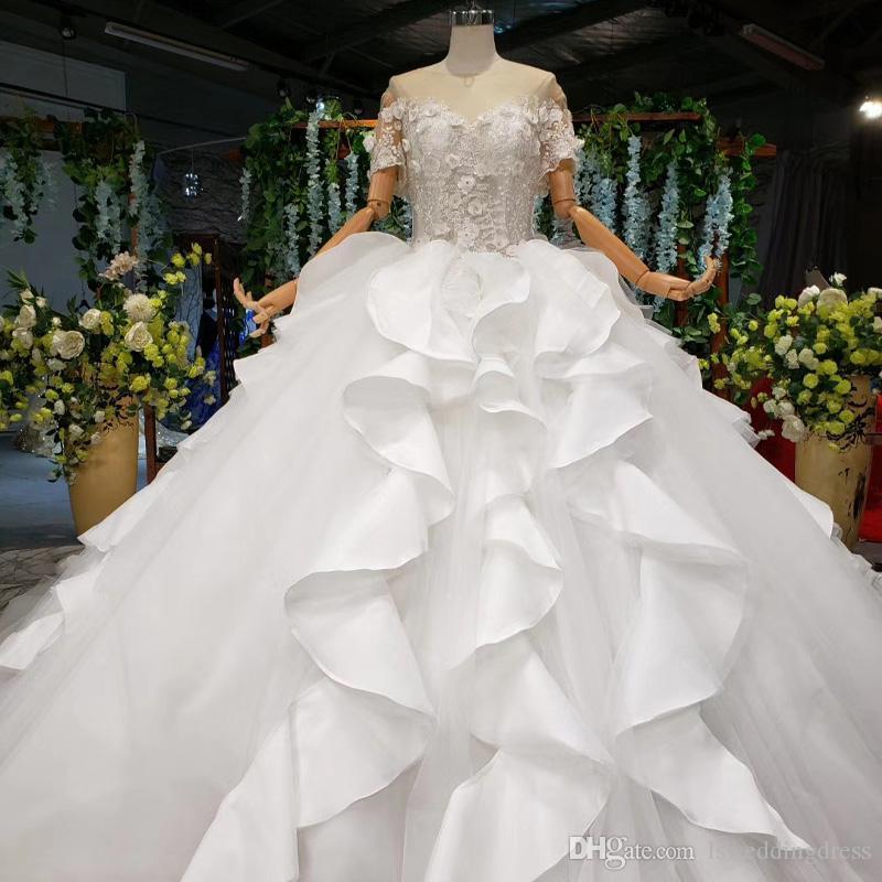 illusione o abito da sposa collo corto senza maniche manica abiti da sposa in pizzo applique 3D a cascata volant arco di campagna Boho Hochzeitskleid nuovi