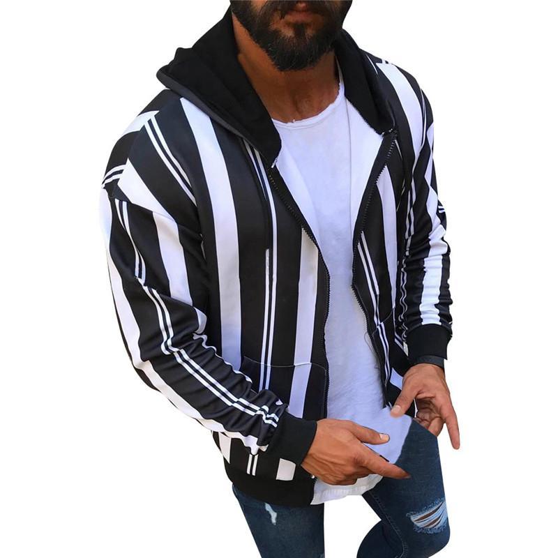 Rahat Erkek Tasarımcı Hoodies Moda Trend Panelli Renk Çizgili Kalın Polar Uzun Kollu Kapşonlu Hırka Yeni Varış Erkek Ceketler