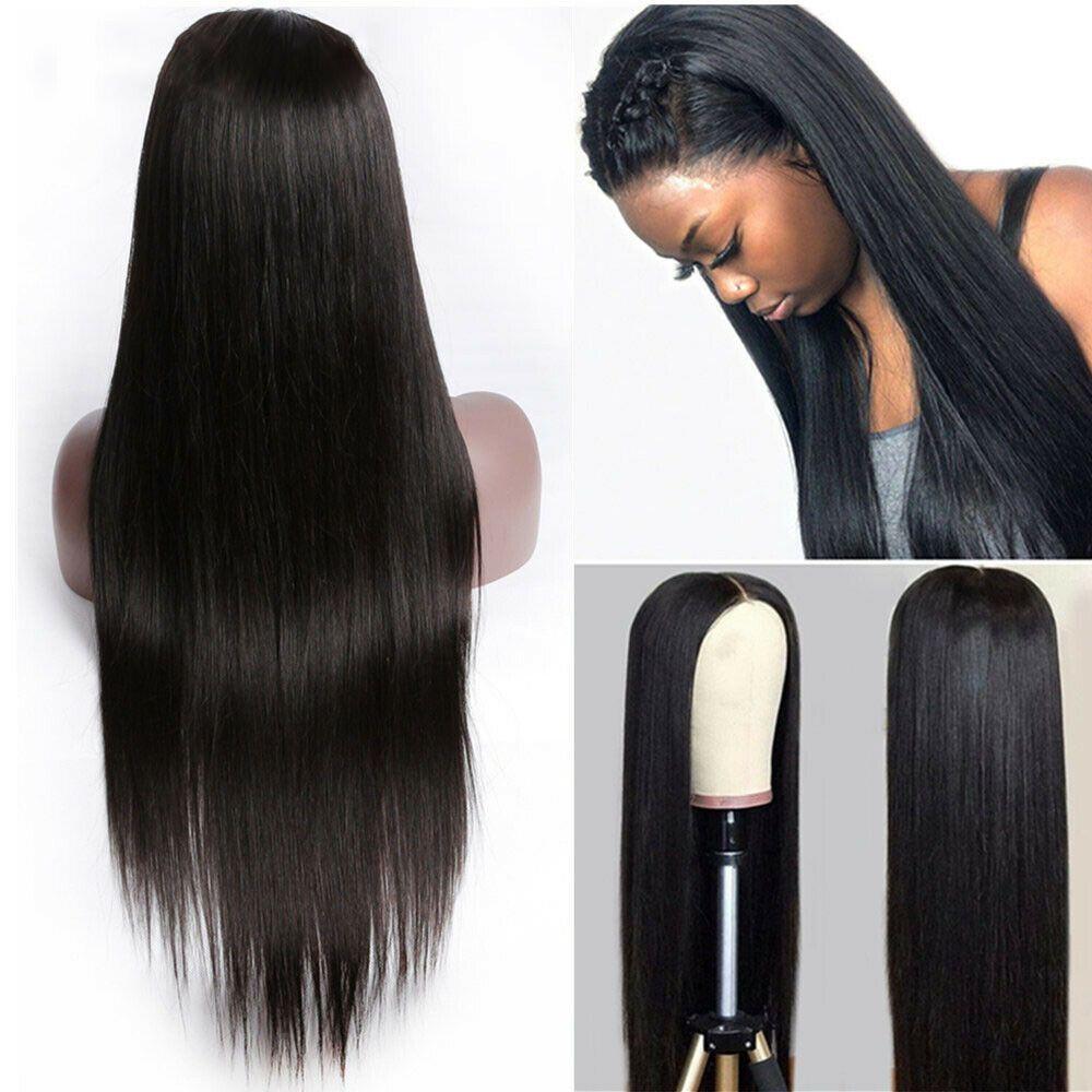 13x4 Straight фронт шнурка человеческих волос Парики для женщин Natural Black 150% Remy бразильского парика шнурок Среднего Ratio белены может быть окрашены