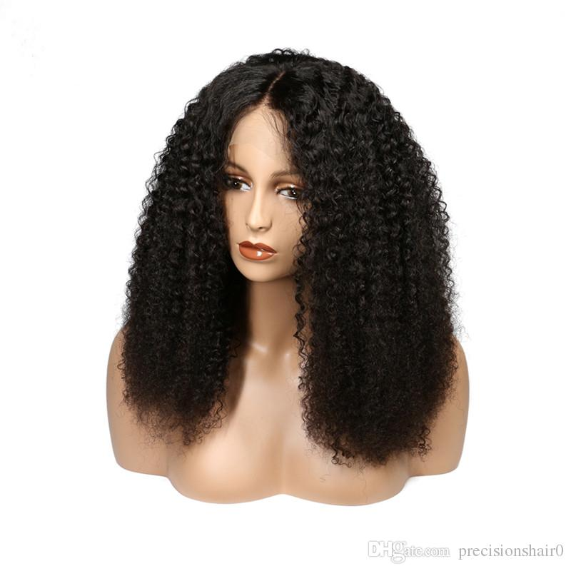 Kinky Curly Lace Front Human Hair Wigs With Bangs Brazilian Full Lace Human Hair Wig Curly For Black Women Grade 7A