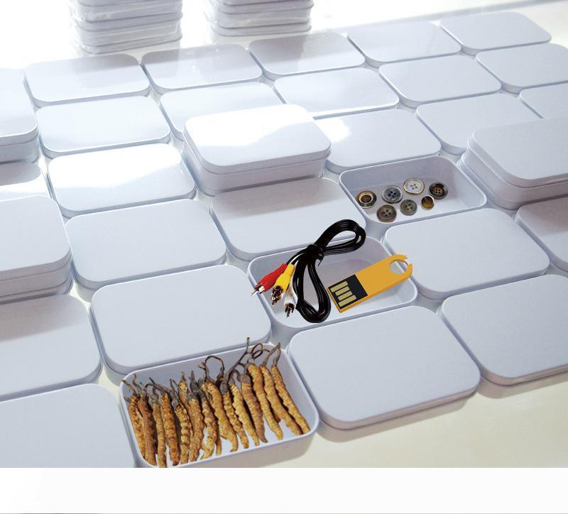 A Free Shipping 94x59x21mm Rectangle white tea tin box mint packing box pill candy jewelry storage box