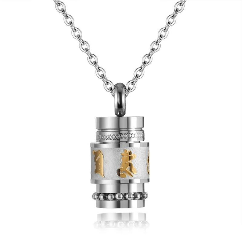 Chic Personality Titanium Steel Creative Pendant Necklace Ladies Buddhist Style Party Vintage Stainless Steel Jewelry