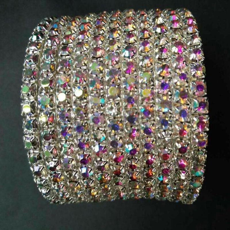 TDQUEEN Bangles prata banhado Pulseiras Pulseira de Cristal Rhinestone Multi-linha espiral pulseira por Mulheres Bangles