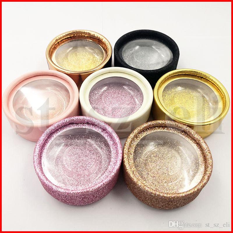 Round False Eyelash Case Eyelash Box With Round Card Eyelashes Package Box Cosmetics empty Eye Lashes Package Boxes