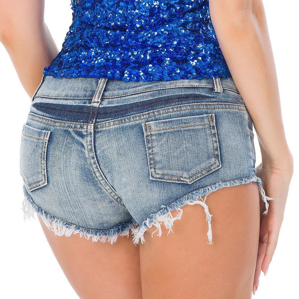 Summer Women Jeans Denim Mini Shorts Beach Party Club Pencil Skinny Jeans Female Ripped Frayed Edge Denim ULTRA LOW RISE