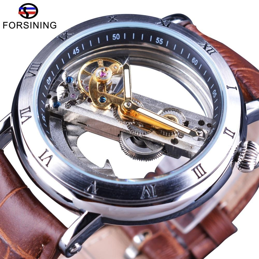 Forsining Minimalism Conception 2017 Brun Bracelet En Cuir Transparent Cas Hommes Montre Top Marque De Luxe Steampunk Automatique Montre-Bracelet Y19052103