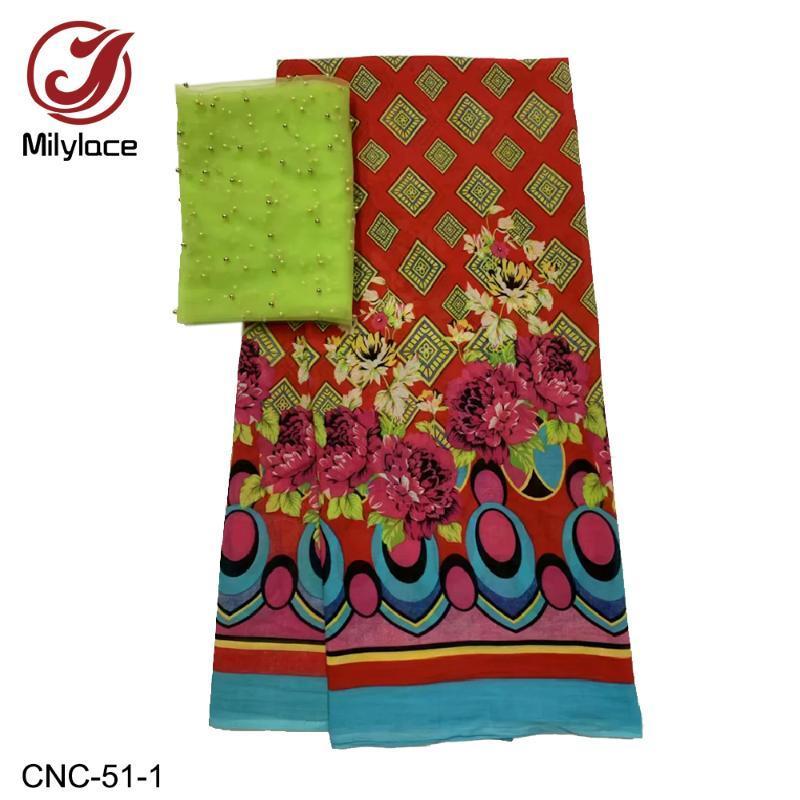 Milylace الزهور مطبوعة القطن الفوال النسيج 5 ساحات + تول الأفريقي أقمشة الدانتيل والخرز 2 ساحات لحزب اليومية CNC-51