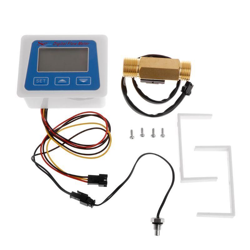 """Digital LCD display Water flow sensor meter flowmeter totameter Temperature time record With G1/2"""" flow sensor"""