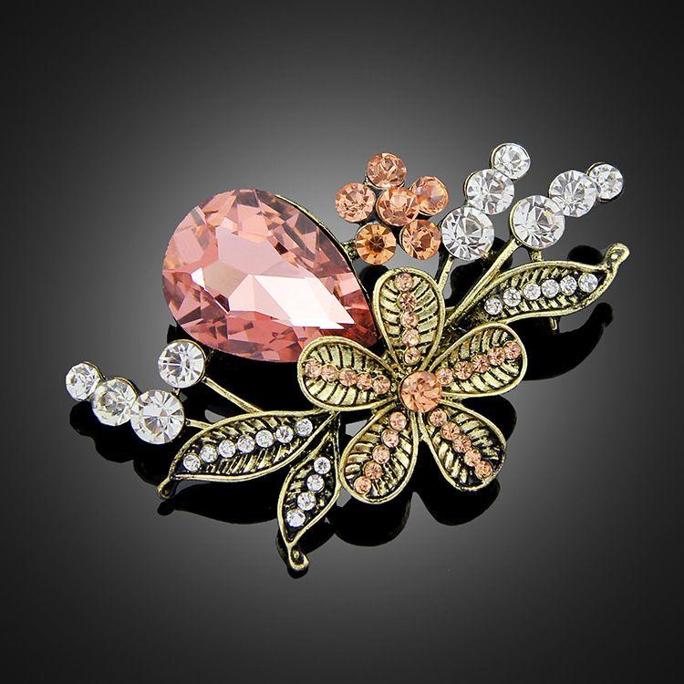 New wholesale brooch Korean fashion retro drill pure hand needle rose flower jewelry
