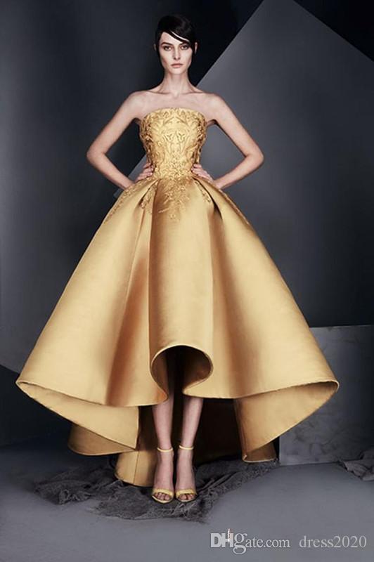 Elegante cocktail ouro Applique vestido de baile Vestidos Homecoming Strapless High-Low Ruffle Vestido de Noite New design de alta qualidade