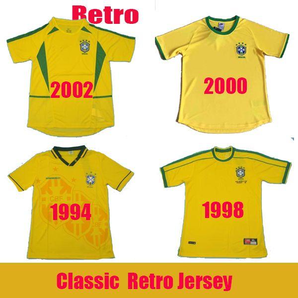 1994 1998 2000 2002 클래식 브라질 레트로 축구 유니폼 로날도 히바우두 호나우딩요 축구 셔츠 R.CARLOS 베베 투 호마리우 Camisa 드 Futebol 팀