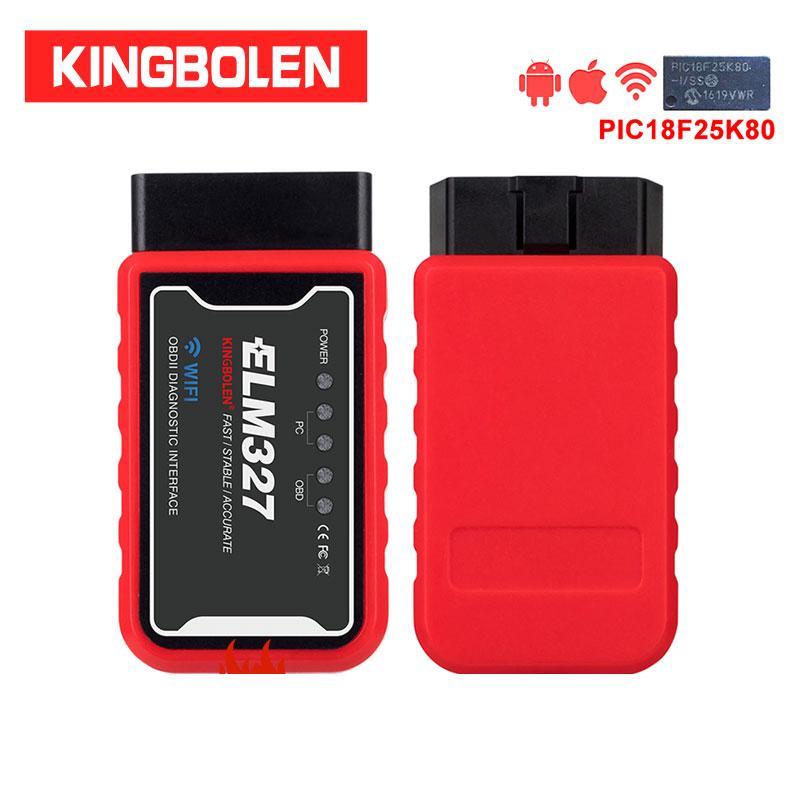 ELM327 WiFi Bluetooth V1.5 PIC18F25K80 Chip OBDII Strumento diagnostico per iPhone / Android / PC 327 V 1.5 Auto Scanner OBD coppia