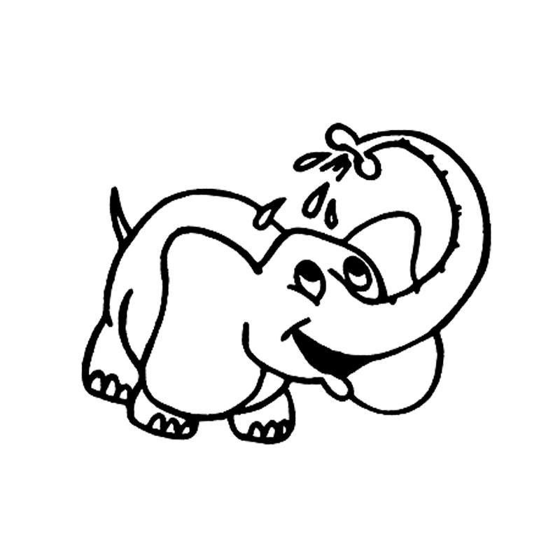 16.5cm * 14.4CM воды Опрыскивание слон мультфильм Украсьте автомобиля стикер бампер винила декора автомобиля