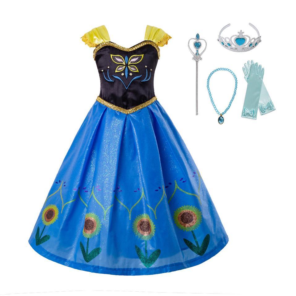 Girls Elsa Dress Costume Princess Anna Dresses Cosplay Party Summer Baby Kids