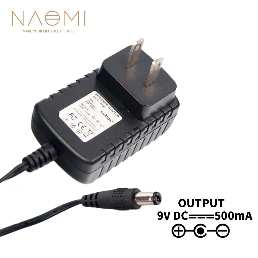 NAOMI Power Supply 9V 500mA US Power Supply Adapter Charger Black For Guitar Effects Pedal Parts US Plug Guitar Accessories