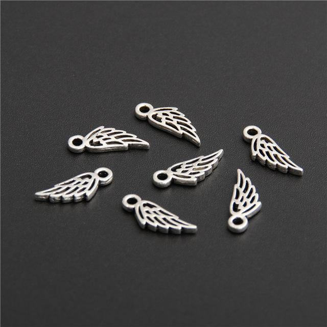 أجنحة للنساء مجوهرات سحر الخيال سحر 100pcs التي فضية اللون الملاك قلادة القلائد قلادة للمجوهرات اكسسوارات A2752