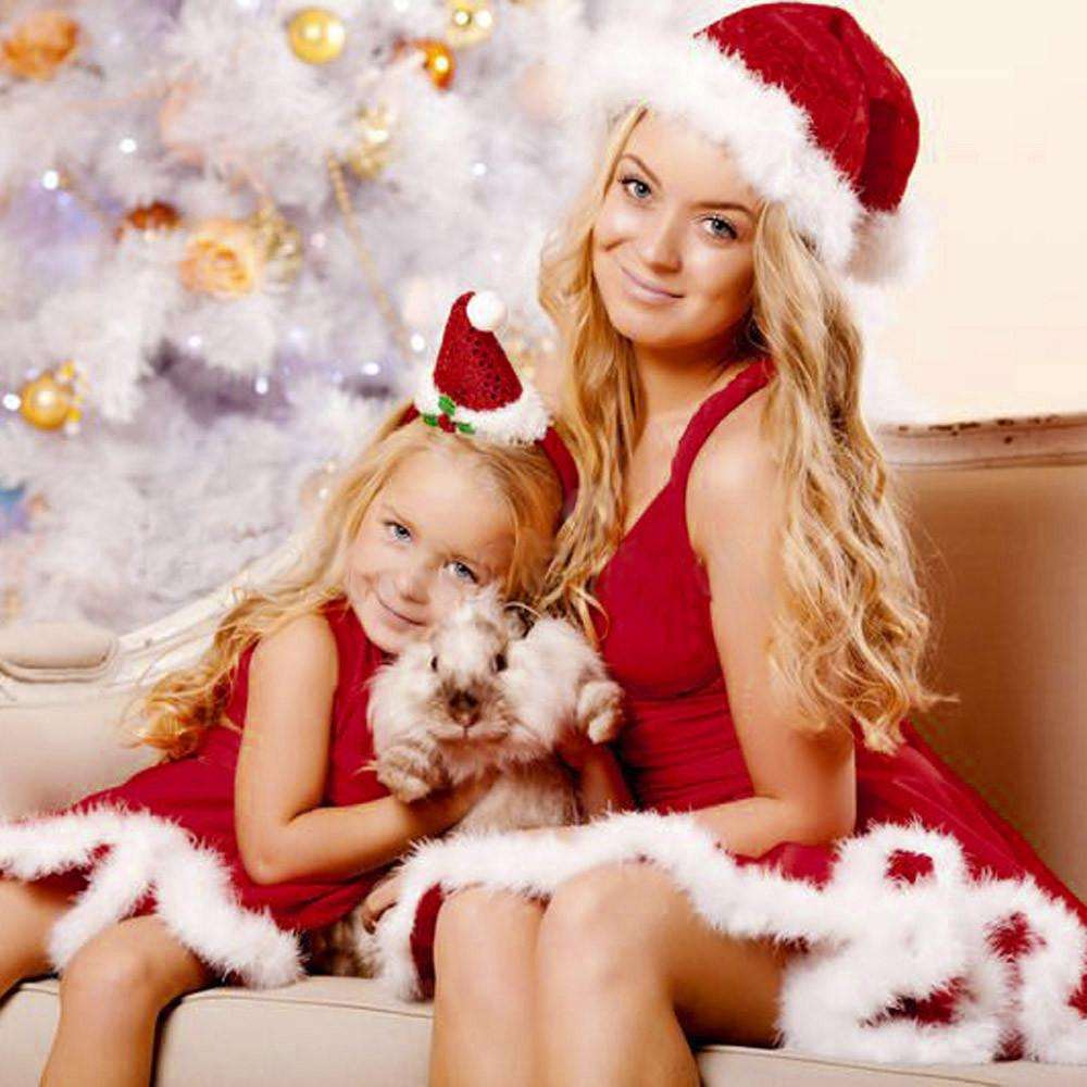 Family Look Kit Mamma e figlia Dress Toddler Kid Baby Girl vestiti Natale Bandge senza maniche Pageant Party Xmas Dress J190514